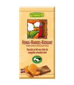 Chocolat au lait aux éclats de nougatine, amandes & miel BIO – 100g – Rapunzel