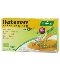 Bouillon de légumes pauvre en sodium en cubes BIO – Herbamare Plantaforce – 8x9,5g – A.Vogel