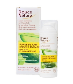 BIO-Tages-Fluid feuchtigkeitsspendend Aloe Vera & Oliven Squalane – 50ml – Douce Nature