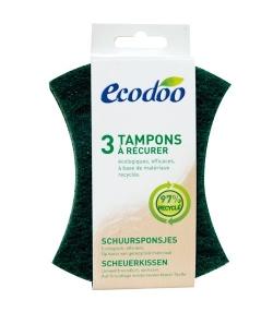 Tampons à récurer écologiques & recyclés - 3 tampons - Ecodoo