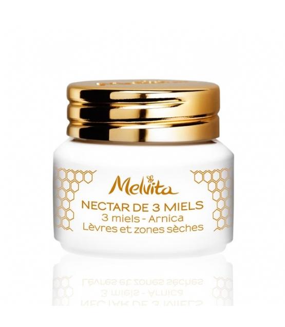 Nectar de 3 miels BIO lèvres & zones sèches - 8g - Melvita Apicosma